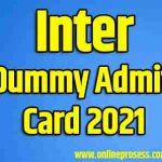 Inter Dummy Admit Card 2021