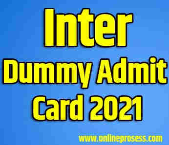 Inter Dummy Admit Card 2021